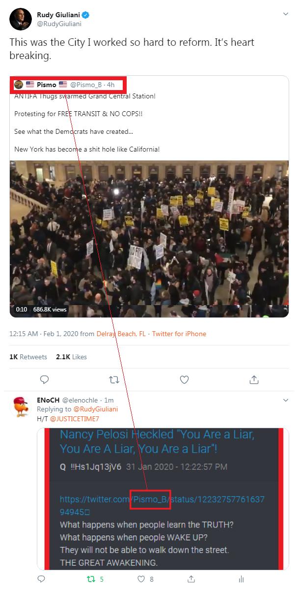 QAnon 31 January 2020 - Rudy Giuliani retweets lo stesso account Twitter mostrato da QAnon.